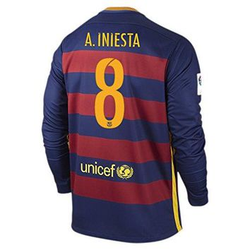 Nike A. Iniesta #8 Barcelona Home Soccer Jersey Long Sleeve 2015/2016