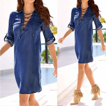 Fashion Lace Up Long Sleeve Women Denim Tunic Dress