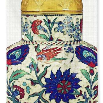 An Ottoman Iznik Style Floral Design Pottery Polychrome, By Adam Asar, No 8a - Bath Towel