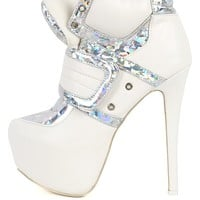 Privileged Swag White Fastener Booties | MakeMeChic.com
