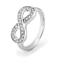 Sterling Silver Infinity Ring w/ Cubic Zirconia - Available Size: 5, 5.5, 6, 6.5, 7, 7.5, 8, 8.5, 9