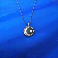 Moon and Star Necklace Pendant Black and Gold - Glass Tile Circle 1 inch