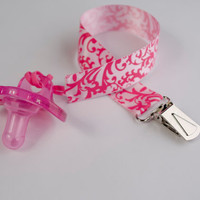 Pacifier Clip, Pink Damask Ribbon, Soothie Clip, Gumdrop, Nuk, Mam, Avent, Girl, Pacifier Holder