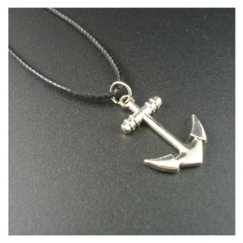 Trendy Collar Leather Vintage Alloy Anchor Pendants Necklace For Mens
