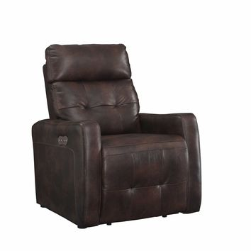 Anna Collection Contemporary Leather Upholstered Living Room Electric Recliner Power Chair with Adjustable headrest, Brown