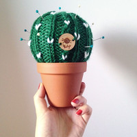 C a c t u s | Cactus | Cacti | Pin cushion | Cactus plant | Succulent | Knit cactus | Potted cactus | Needles arrangement | Interior decor