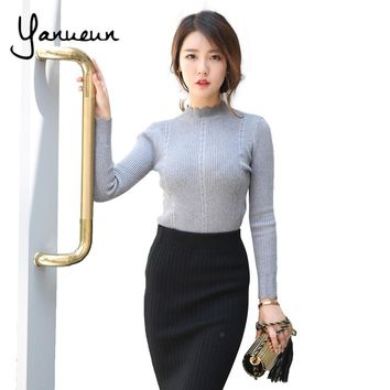 Yanueun Women High Elastic Knitted Rib Pullover Sweater Female Autumn Winter 2017 Turtleneck Women's Wave Bottom Jumpers Brazil