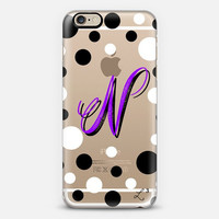 Purple Polka Dots Custom Slim Phone Case with Initial
