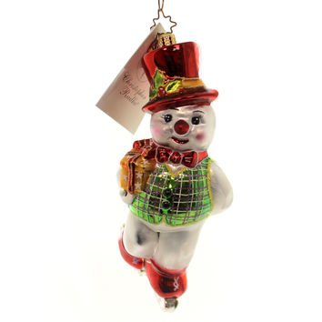 Christopher Radko SKATER DATER Blown Glass Ornament Snowman Christmas