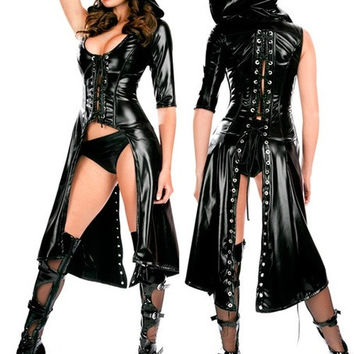 Gothic Punk Wetlook Sweet Pea Hooded Coat Gown Dress Costume Fullset (Size: M, Color: Black) = 1930323780