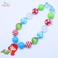 Kids Handmade Jewelry DIY Chunky Bubblegum Bead Cartoon Alloy Pendant Necklace Design For Amazon KQNL-601484