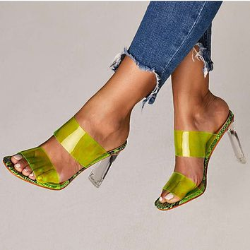 New Fish Mouth Transparent Film Crystal High-heeled Sandals Size 42
