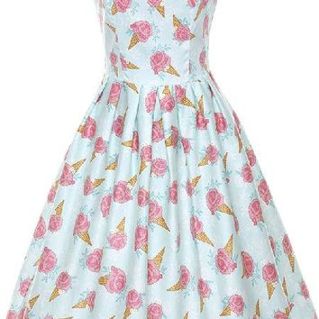 Ice-Cream Cone With Rose & Daisy Sprinkles Print Vintage Style Dress