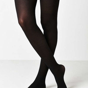 Out From Under Ribbed Faux Thigh High Sheer Tight   Urban Outfitters