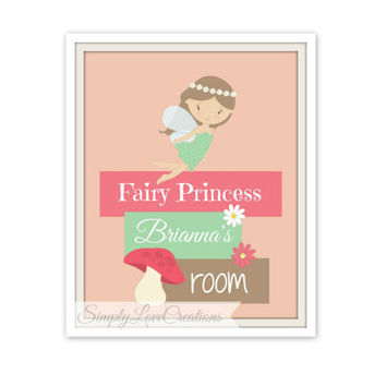 Personalized Fairy Princess Name Art // Nursery Wall Art // Girls Room Decor // Fairy Princess Nursery // Girls Typography Print - Fairy Art