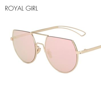 ROYAL GIRL Fashion Flat Top Glasses Alloy Semi Rim Sunglasses Women Famous Brand Designer
