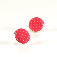 Pink Stud Earrings, Coral Pink Polka Dots Earring Studs, Brink Pink, Fabric Covered Buttons, Silver Toned Earrings, Posts, Jewelry