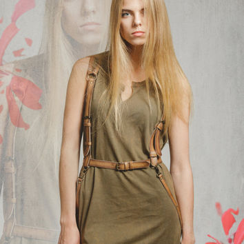 "SALE! Tan leather harness belt, harness leather, fashion nearness, body harness ""Night Out in Tan"""