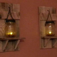 Mason jar Candle Holder, Rustic Country Decor,  sconce candle holder, lantern shelf, reclaimed wood candle,   priced 1 each