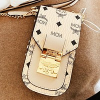 MCM  Fashion New More Letter Leather Shoulder Bag Crossbody Bag Beige