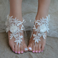 Free ship ivory lace barefoot sandals, nude shoes, brefoot sandals, boho sandal, beach wedding barefoot sandals, Elegant sandals, lace shoes