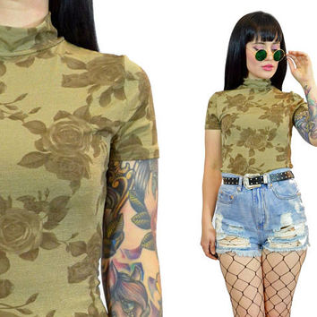 vintage 90s ROSE tshirt soft grunge mock neck 1990s blouse top bodycon slinky tan beige floral print minimalist small