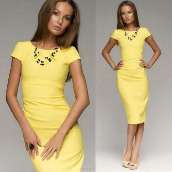 Women Midi Summer Style Dress Short Sleeve Knee Length Office Ladies Pencil Dress Wrinkle Bodycon Casual