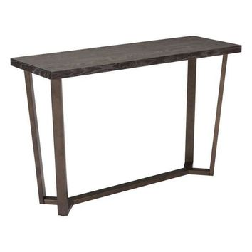 Brooklyn Console Table Gray Oak & Antique Brass
