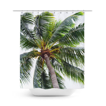 Caribbean Palm - Shower Curtain, White and Green Palm Tree Decor, Vanity Bathroom Boho Style Hanging Bath Tub Curtain Backdrop Accent. 71x74