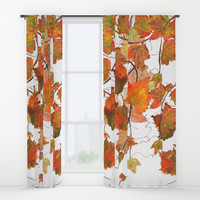 orange grapevine 2 Window Curtains by Color and Color