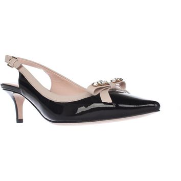 Kate Spade New York Palina Sling Back Pump Heels, Black Patent/Pale Pink, 5.5 US