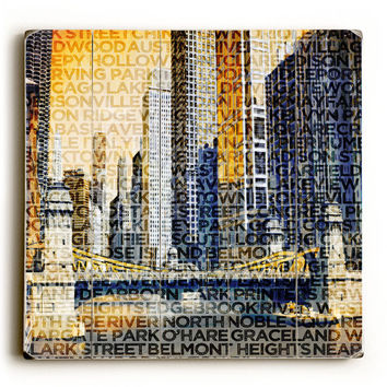 Chicago Neighborhoods by Artist Gi Art Lab Wood Sign