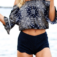 Geo Print Off-Shoulder Elastic Crop Top