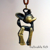 Cute Young Deer Fawn Necklace with antique brass bird and brown crystal ND03