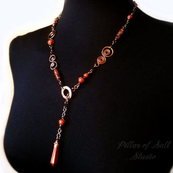 Lariat necklace, Wire Wrapped jewelry handmade, Y necklace, Brown Goldstone, copper wire jewelry, boho earthy jewelry, assymetrical necklace