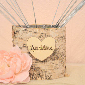 Wedding Sparklers Birch Basket- wedding decoration