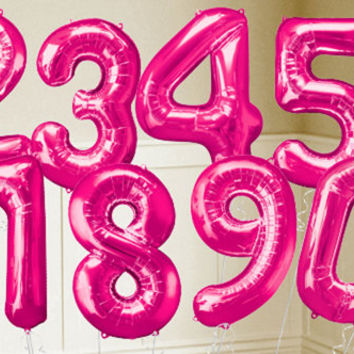 Bright Pink Number Balloons - Metallic Pink Balloons & Balloon Accessories - Party City