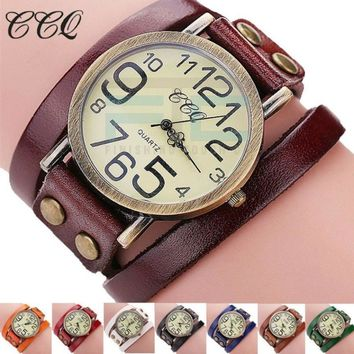 Ladies Vintage Style Large Faced Watch With Leather Band