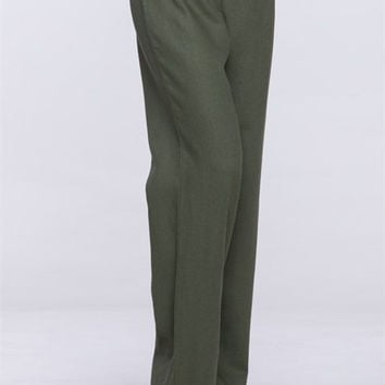The Famous Boutique Foldover Linen Pants in Olive | Overstock Boutiques