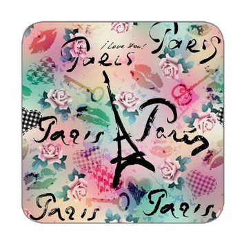 Coaster set of 4 in paris pattern in rianbow color for Personalized coasters Table coasters