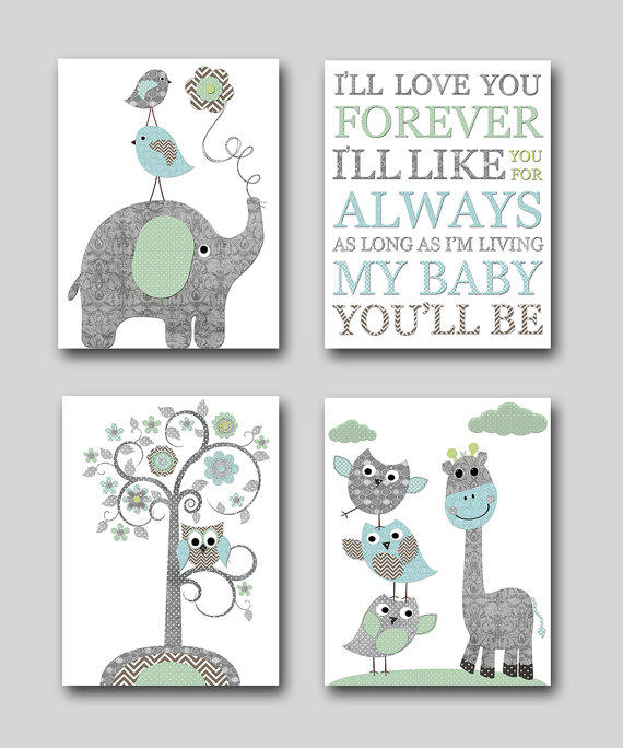 Baby Boy Nursery Decor Art Kids Art Kids Room By Galerieanais: Gray And Blue Elephant Nursery Giraffe From Artbynataera