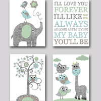 Gray and blue Elephant Nursery Giraffe Nursery Print Baby Room Decor Baby Nursery Decor Baby Boy Nursery Kids Wall Art Kid Art set of 4 8x10