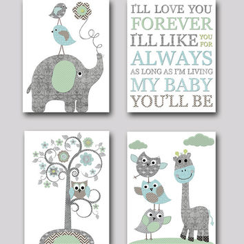Gray And Blue Elephant Nursery Giraffe Print Baby Room Decor Boy
