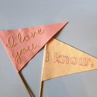 Small I Love You Felt Wedding Flags