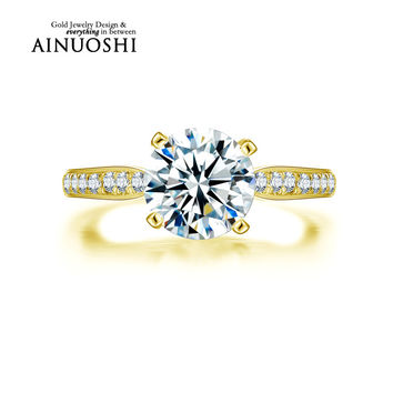 AINUOSHI 10K Solid Yellow Gold Wedding Rings 2 ct 4 Claws Sona Simulated Diamond Anel de ouro Women Engagement Fine Jewelry Ring