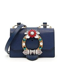 Miu Miu Women's 5BH6092EJAF0021 Blue Leather Shoulder Bag