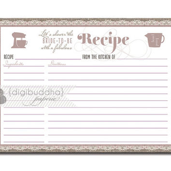 Lace Recipe Card Burlap Linen Purple Bridal Shower 5x7 4x6 3.5x5 DIY Printable or Printed Fill-In Recipe Card - Chloe Style