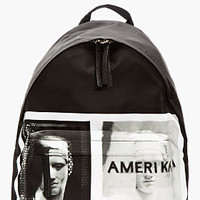 BLACK LEATHER-TRIMMED AMERIKA GRAPHIC BACKPACK