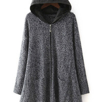 Grey Hooded Long Sleeve Sweater Coat