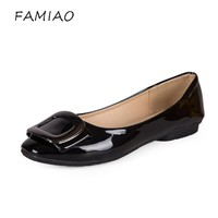 FAMIAO 2017 New Arrival Patent Leather Flat Women Ballet Flats Shoes Women  Black Square Toe  Shoes Black For Lady loafers